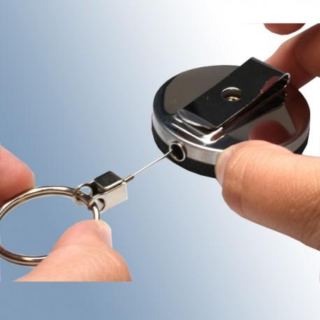 Ausweisjojo aus Metall mit Schlüsselring und Gürtelclip