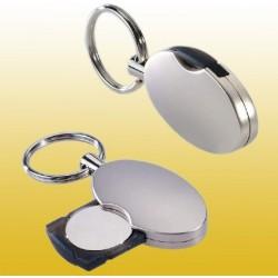 Schlüsselanhänger aus Metall mit Einkaufschip