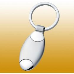 Schlüsselanhänger oval, aus Metall, glänzend-matt