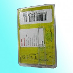 Scheckkartenhalter mit Schieber, Befestigungsbügel und Langloch