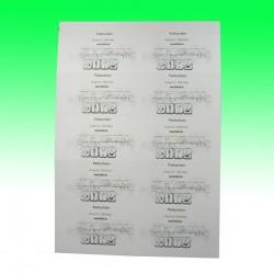 Papiereinlagen blanko (54 x 85 mm) DIN A4