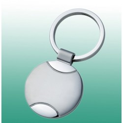 Schlüsselanhänger rund, aus Metall, matt, mit polierten Einsätzen und Ring