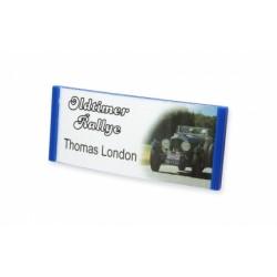 Namensschild 70 x 30 mm mit leichter Wölbung und Magnet