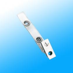 Ausweisclip mit transparenter Lasche und Metalldruckknopf