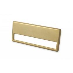 Namensschild mit goldfarbiger Metalllegierung und Magnet