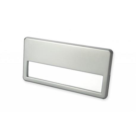 Namensschild mit silberfarbiger Metalllegierung mit 2 Metallclipse und Magnet