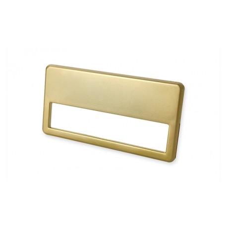 Namensschild mit goldfarbiger Metalllegierung mit 2 Metallklammer und Broschennadel