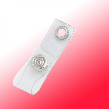 Lasche transparent, mit Metalldruckknopf und Metallöse