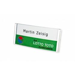 Namensschild, gewölbt mit glasklarer Astralon-Abdeckung. Mit Magnet