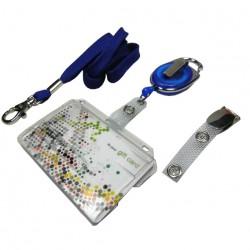 Scheckkartenhalter mit Schieber, Ausweisjojo, Clip und Umhängeband
