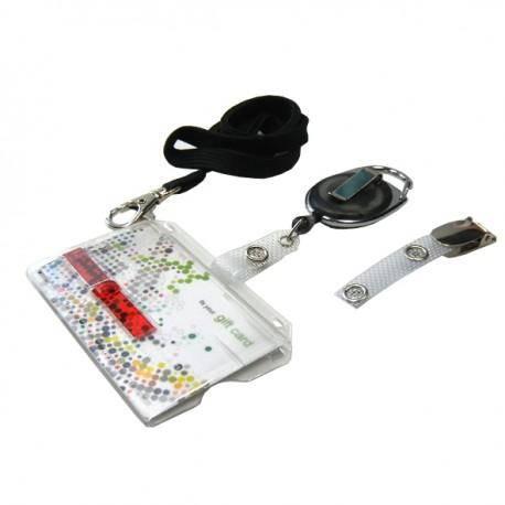Scheckkartenhalter mit rotem Schieber- Ausweisjojo-Clip-Umhängeband