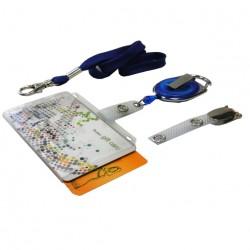 Scheckkartenhalter für 2 Karten mit transparentem Schieber- Ausweisjojo-Clip-Umhängeband