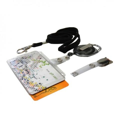 Scheckkartenhalter für 2 Karten mit transparentem, Schieber- Ausweisjojo-Clip-Umhängeband